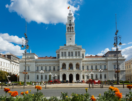 ARAD, ROMANIA - SEPTEMBER 13, 2017: View of town hall square in sunny autumn day