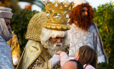 melchor: BARCELONA, SPAIN –  JANUARY 5, 2017: Meeting of three magicians Melchor, Baltasar and Gaspar in port of Barcelona. Barcelona, Catalonia