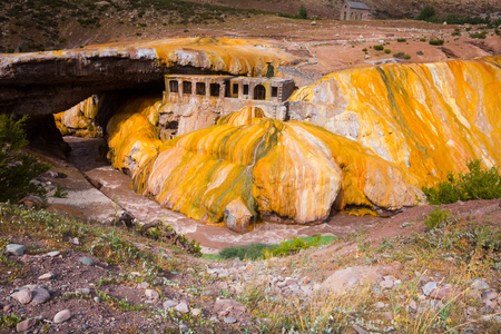 Spectacular view on natural bridge Puente del Inca on the Vacas in Argentina Stock Photo