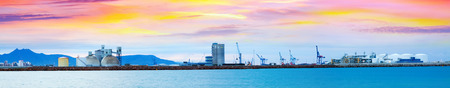 Panarama of Puerto de Castellon -  industrial port  in  Castellon de la Plana in dawn, Valencian Community, Spain Stock Photo