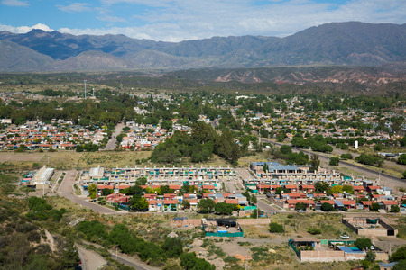 Picturesque city view of Mendoza with rooftops on high plain in Argentina