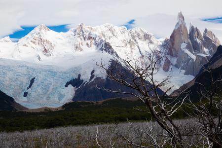 Glaciers and mountains Fitz Roy, Cerro Torre in summer day. Andes, Santa Cruz, Patagonia, Argentina
