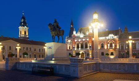 Night view of Union Square in Oradea, Romania