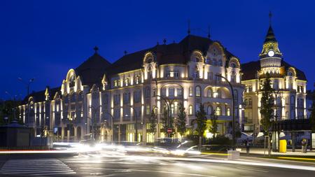 pilasters: Illuminated monumental building of hotel in Oradea, Romania
