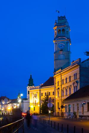 pilasters: Illuminated Oradea city hall in twilight, Romania Editorial