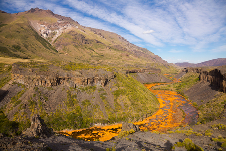 Spectacular view on Agrio River valley and Salto del Agrio in Argentina Stock Photo