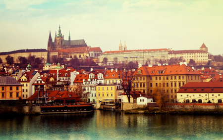 View of Prague Castle from Vltava side, Czechia Stock Photo