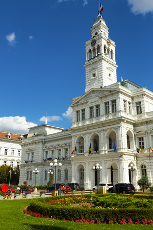 View of Arad town hall in sunny autumn day, Romania