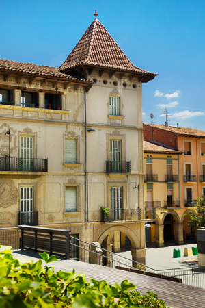Architecture of main square of Fra Bernadi of provincial city of Manlleu, Spain