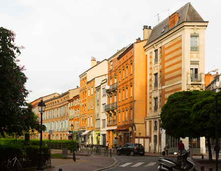 vermilion coast: TOULOUSE, FRANCE - MAY 12, 2017: Old french streets of  Toulouse with shops and cafe in France.
