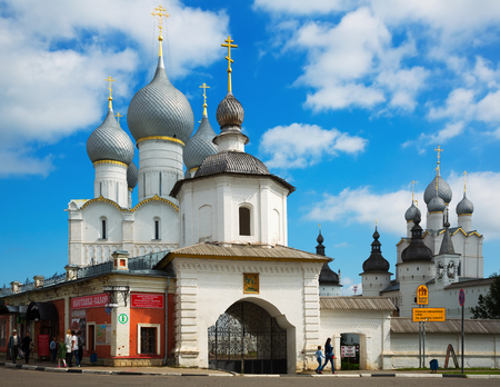 ROSTOV, RUSSIA – AUGUST 27, 2016: View on Rostov Kremlin complex build 1670-1683 on summer day