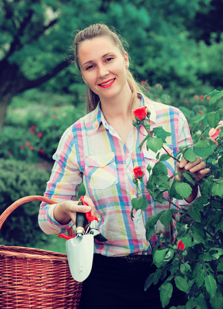positive young italian woman with long curly hair smells roses flower outdoor