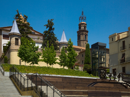 Main square of Fra Bernadí in Manlleu is part of architectural heritage of Catalonia