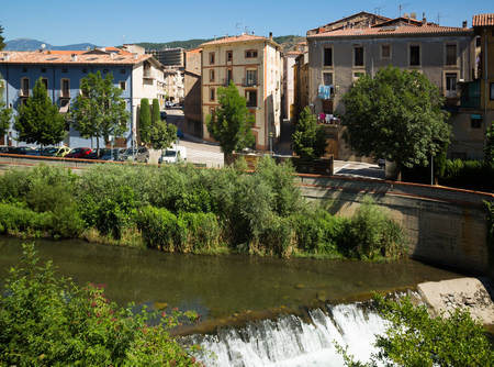 View of Ter River in province town of Ripoll, Catalonia, Spain