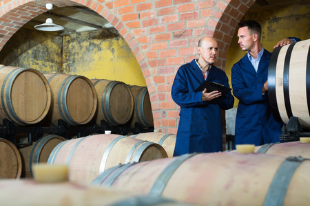 two thoughtful men professionals in uniforms taking notes in cellar with wine woods  Stock Photo