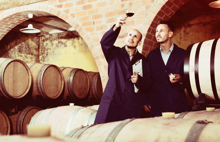 look latino: two joyful male winemakers in uniforms looking at wine sample in glass in winery cellar