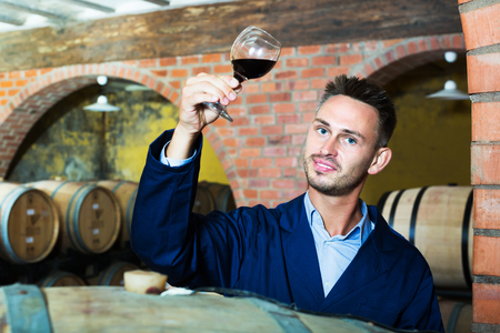portrait of smiling young winery employee holding wine sample in glass in cellar with woods