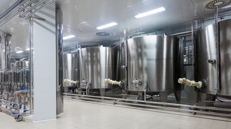 Interior of modern winery with stainless equipment under temerature control Stock Photo