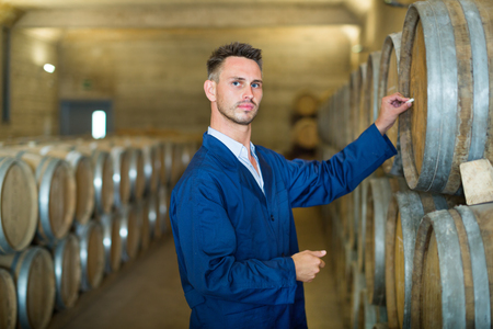 Portrait of young male wine maker in coat working with woods in the winery cellar  Stock Photo