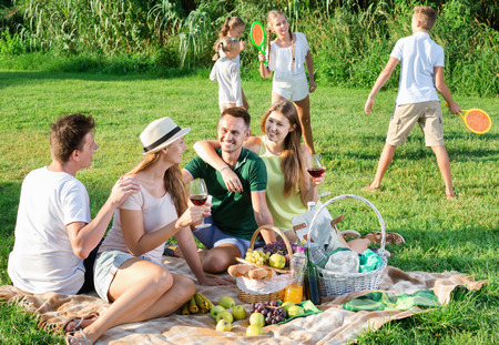 niños platicando: Cheerful positive  women and men on picnic in summer park with happy children playing behind