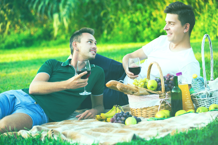 Two glad young men enjoying picnic outdoors on summer day