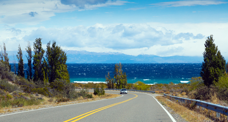 Landscape and views of Lago Buenos Aires in sunny summer day, Patagonia, Argentina Stock Photo