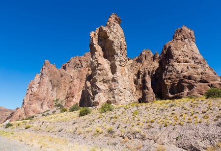 Picturesque views of rock plateau near to National Highway 25, Patagonia, Argentina, South America Stock Photo