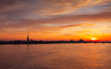 view of Neva river summer dawn. St. Petersburg, Russia