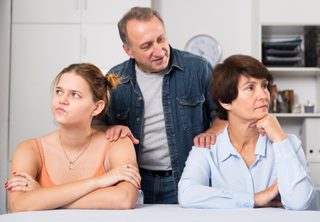 Man is wanting to reconcile daughter with her mom at home.
