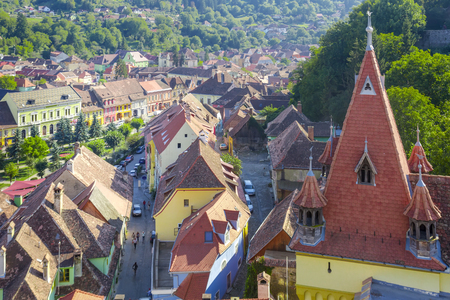 View from Clock tower in Sighisoara in Romania. Stock Photo