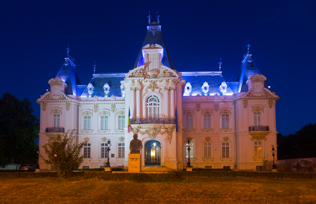 Night view of Craiova Art Museum housed in sumptuous Constantin Mihail Palace Editorial