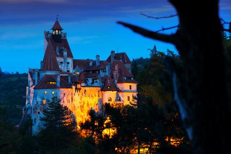 Medieval Bran Castle on mountain in Brasov, Romania