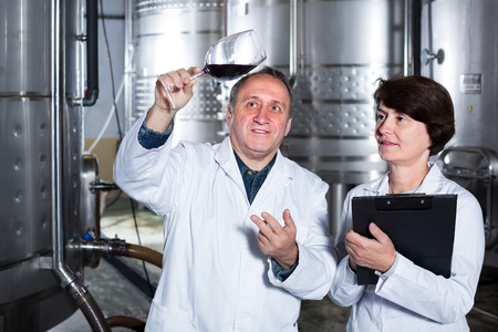 Expert and German wine maker estimate quality of red wine in wineglass