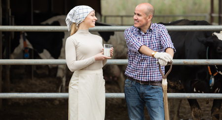 Mature man and woman farmers standing with fresh milk and talking in hangar