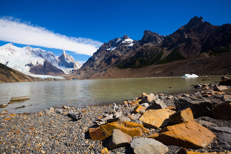 View on mountaintops and surroundings in Los Glaciares National Park in Argentina