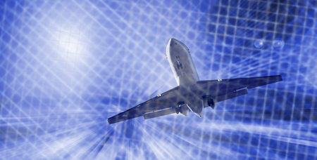Airplane flying with dynamic motion blur abstract background