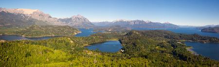 General view of spectacular Lago Nahuel Huapi and Cerro Campanario in Argentina