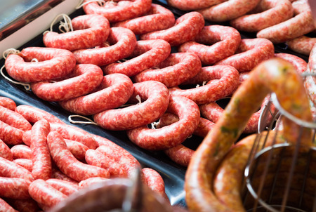 counter with assort of sausage, close up shot local focus