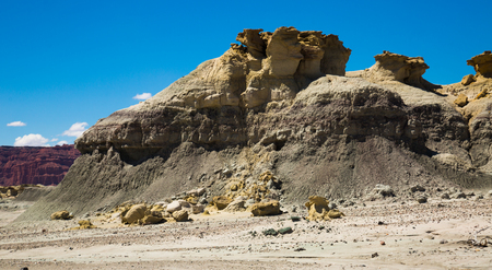 Stone landscape and natural stone formations in Ischigualasto Provincial Park, north-western Argentina