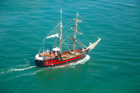 two-mast sail ship from aerial view in sunny day