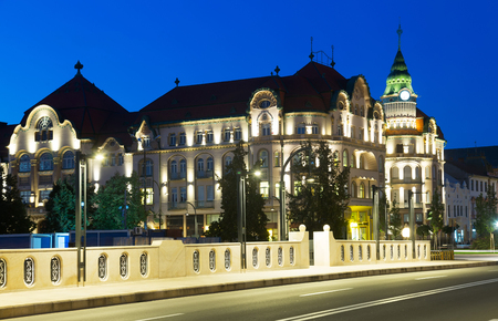 View of architectural hotel complex in Oradea in night, Romania Editorial