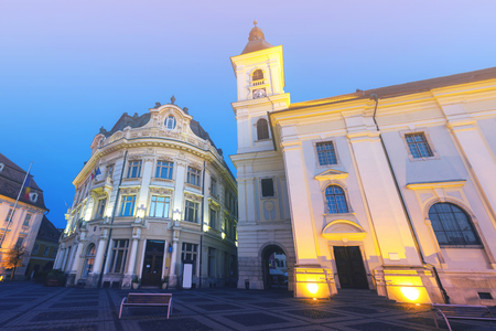 Image of City hall of Sibiu in hight light in Romania.