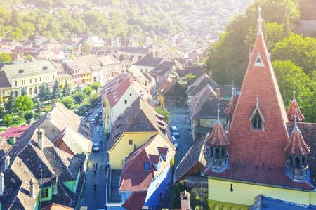 ルーマニアのシギソアラの時計塔からの眺め。