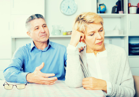 Husband and wife find out relationship and sort out family problems Stock Photo