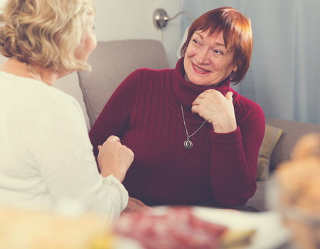 Happy senior woman lively talking with her female friend at home Stockfoto