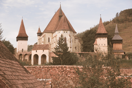 Image of Church Fortification in Biertan in Romania. Stock Photo