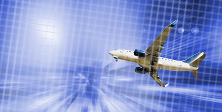 Airliner in motion on background of high speed traveling in sky Banque d'images