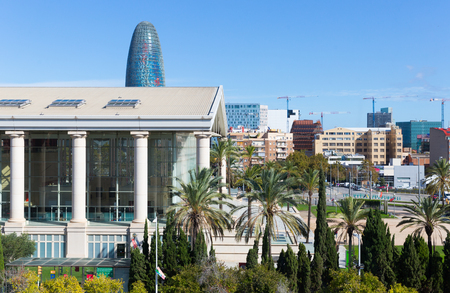 BARCELONA, SPAIN- OCTOBER 22, 2017: View of modern district of Barcelona with Agbar Tower in background Editorial