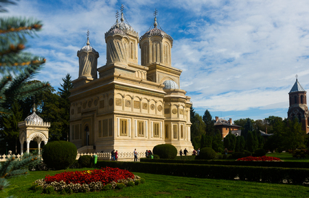 CURTEA DE ARGEW, ROMANIA - SEPTEMBER 22, 2017: Image of Cathedral in romanian city Curtea de Argew outdoor.