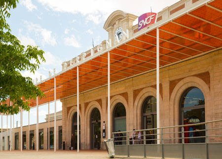 PERPIGNAN, FRANCE - MAY 11, 2017: Railway station of Perpignan inextricably linked with work of great Salvador Dali Editorial